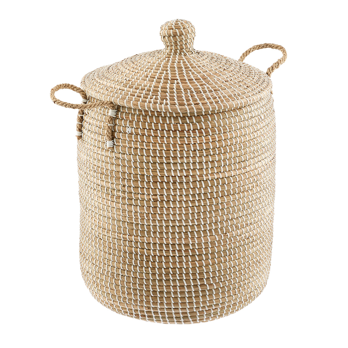 White Seagrass Hamper with Lid