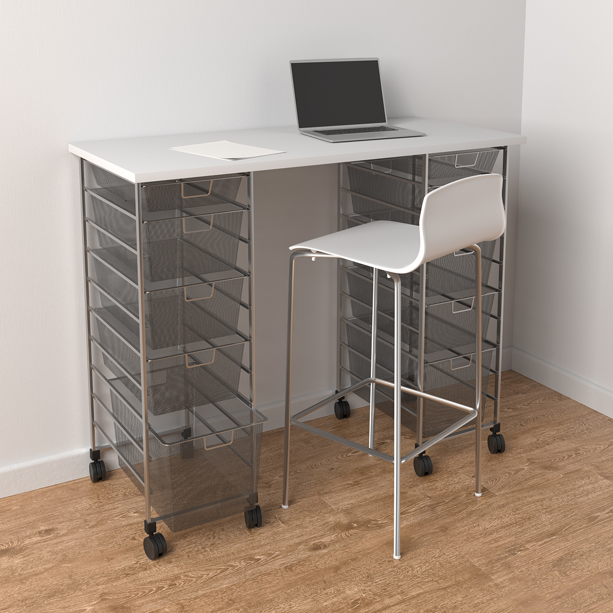 Elfa Platinum & White Movable Standing Desk