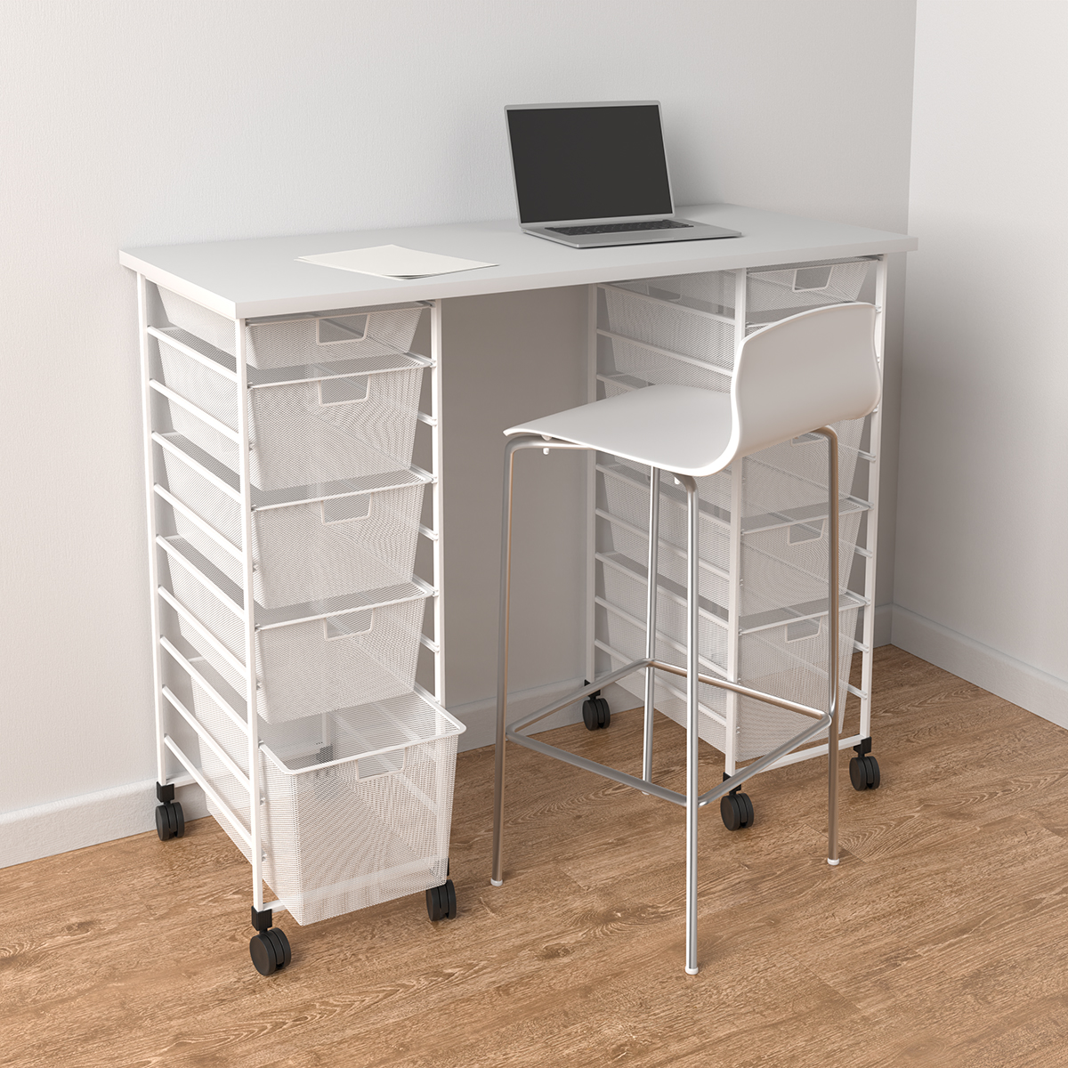 Elfa White Movable Standing Desk