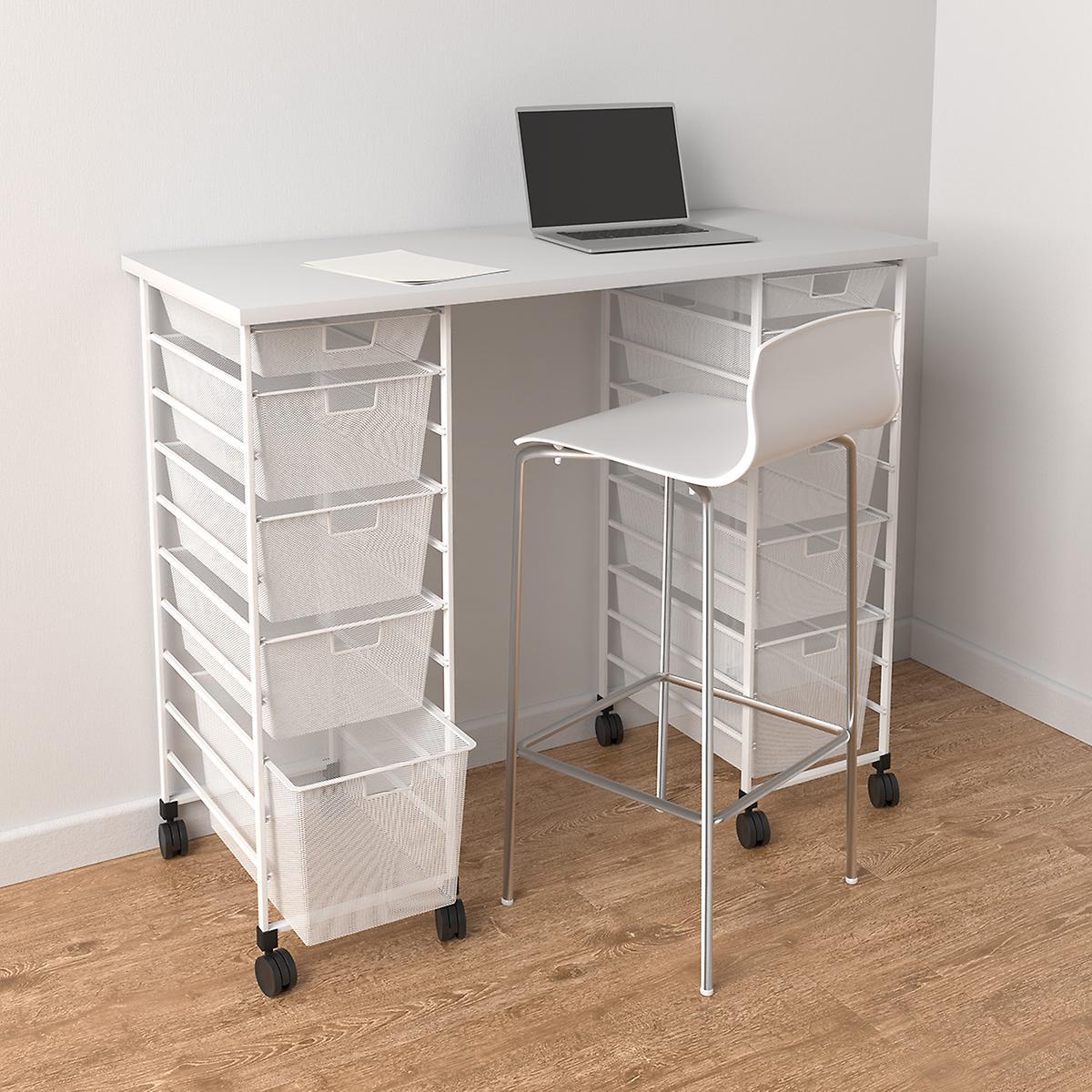 Elfa White Movable Standing Desk