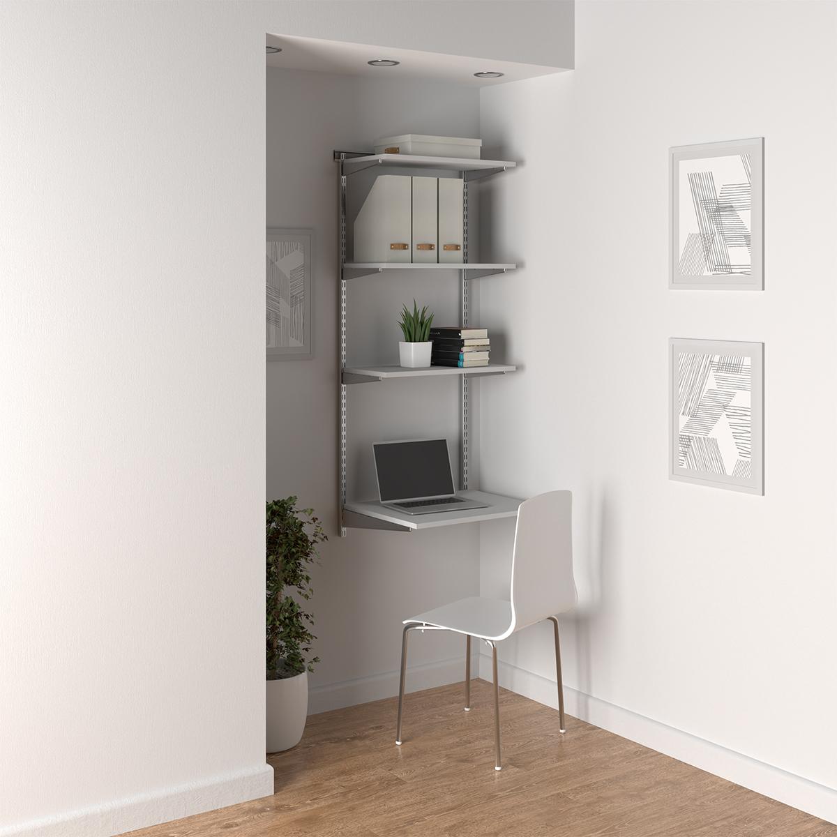 Elfa Platinum & White Shelving Office Nook