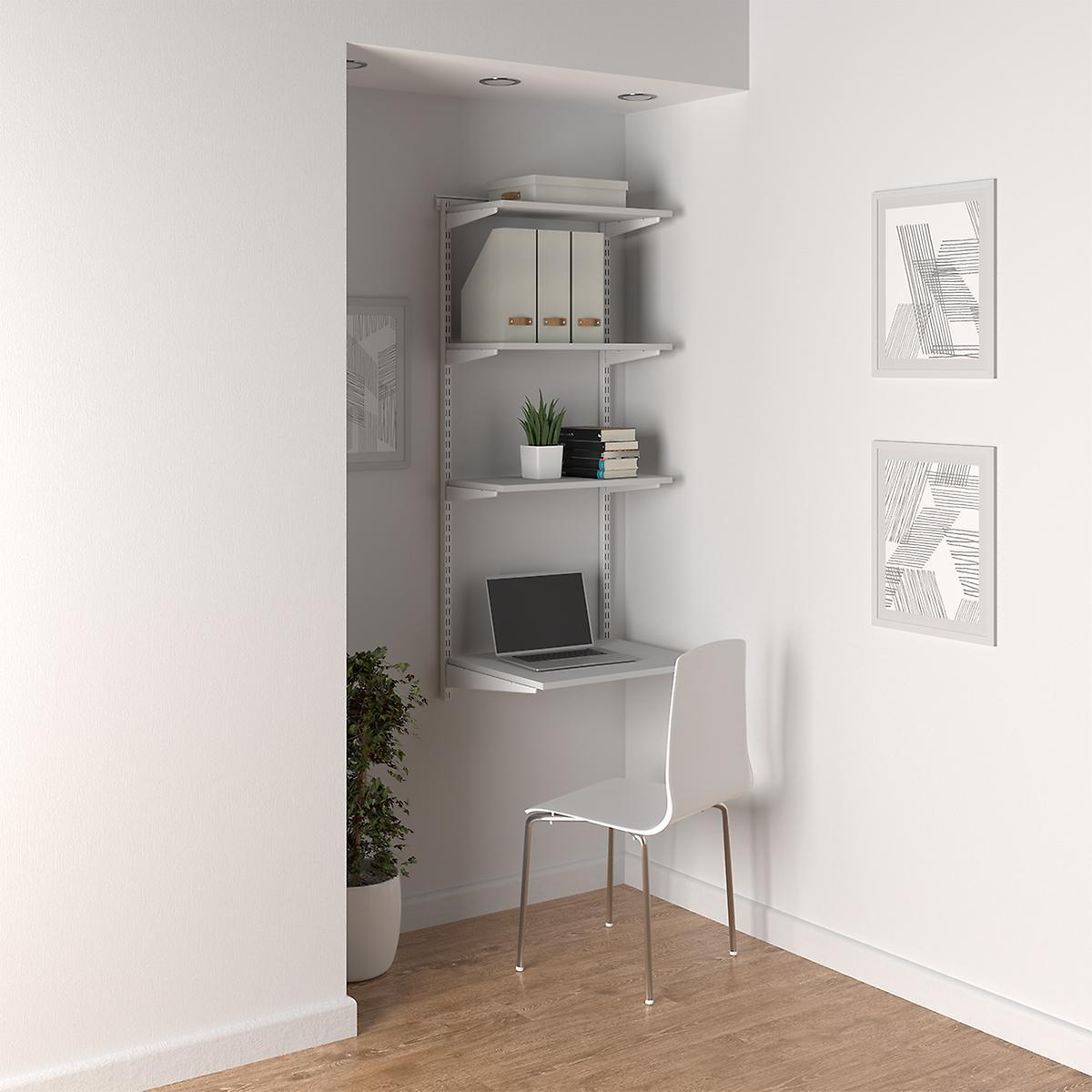 Elfa White Shelving Office Nook