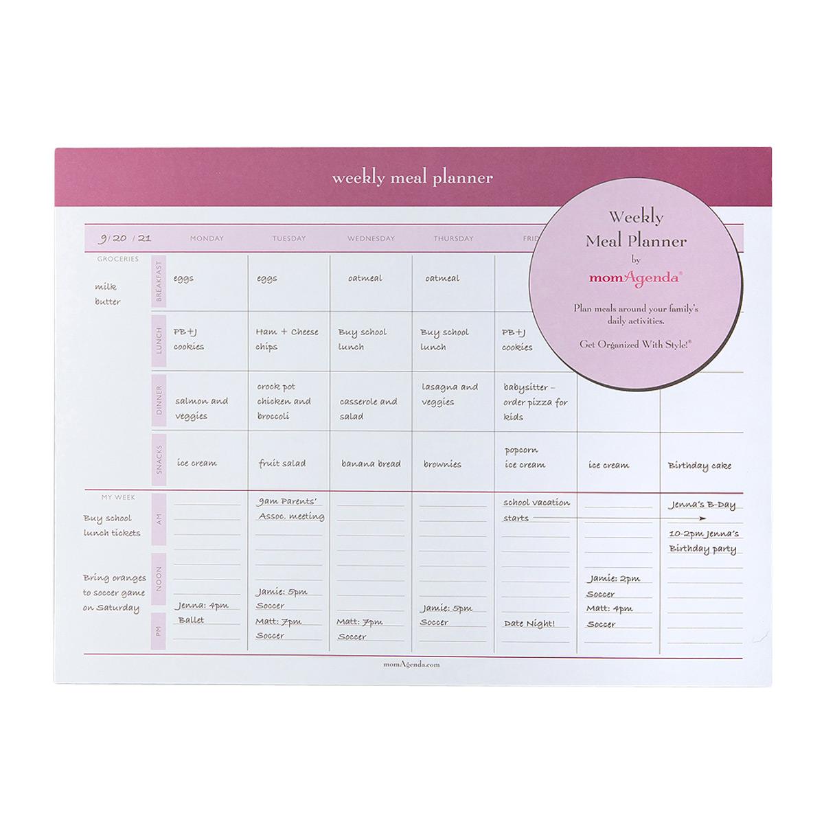 momAgenda Weekly Meal Planner Pad