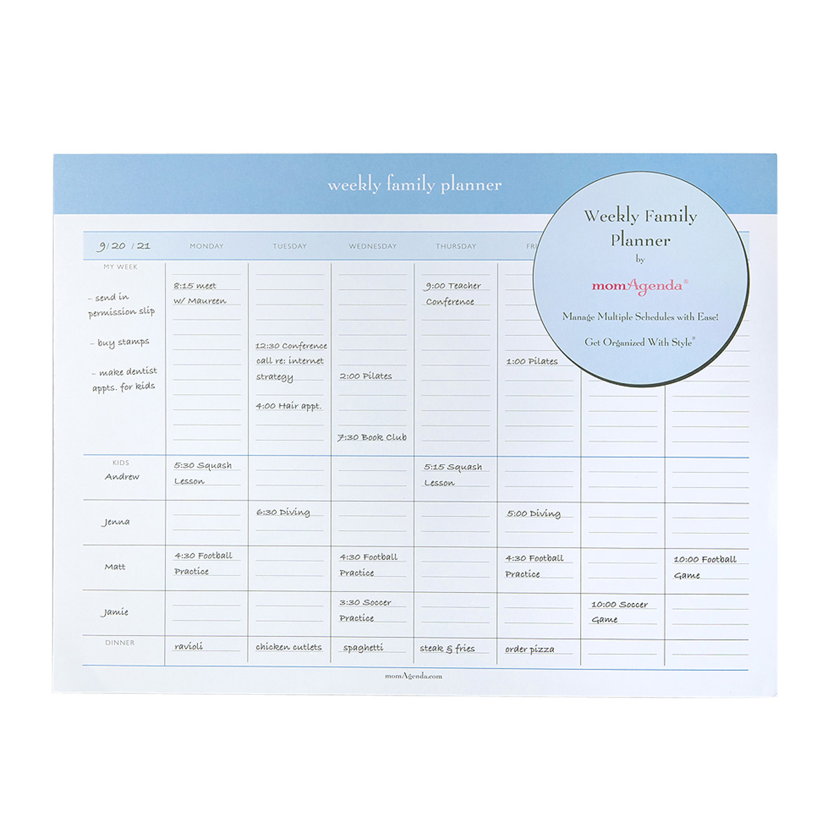 momAgenda Weekly Family Planner Pad