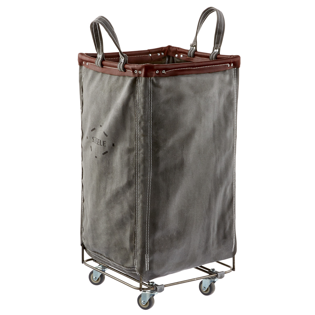 Steele Canvas Grey & Brown Leather Squared Sorting Hamper