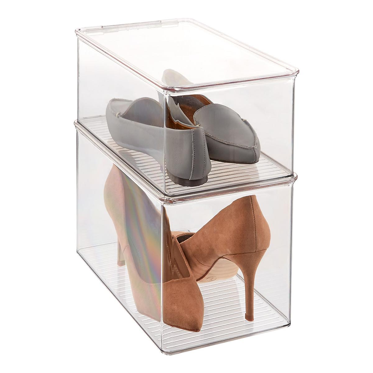 Hinged-Lid Stackable Shoe Boxes