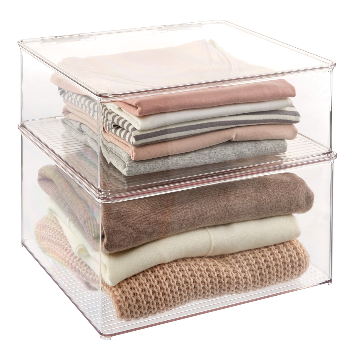 Hinged-Lid Stackable Shirt & Sweater Boxes