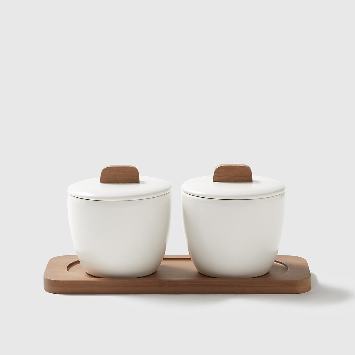 Marie Kondo Cloud White Ceramic Salt Cellars with Bamboo Tray