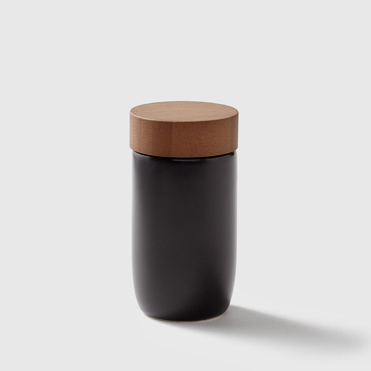 Marie Kondo Ink Black Ceramic Spice Jar with Bamboo Lid