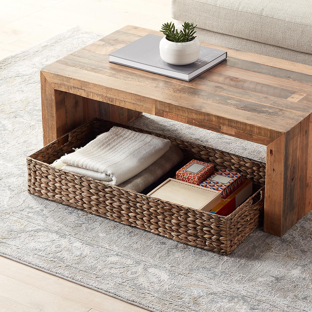 Mocha Water Hyacinth Coffee Table/Under Bed Bin