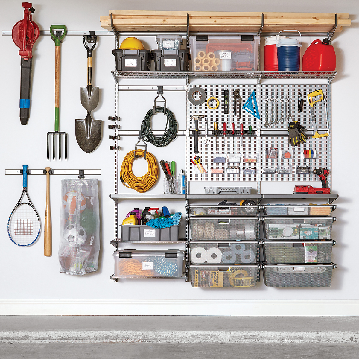 Platinum Elfa Utility Garage with Workstation