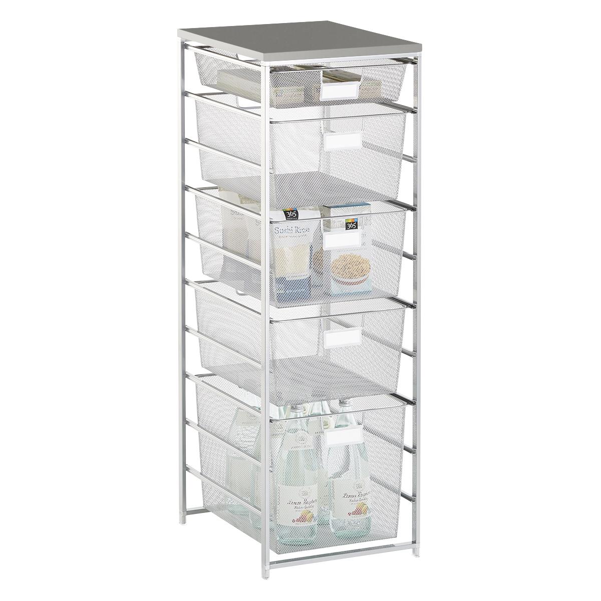 Elfa Platinum & Grey Cabinet-Sized Mesh Pantry Storage