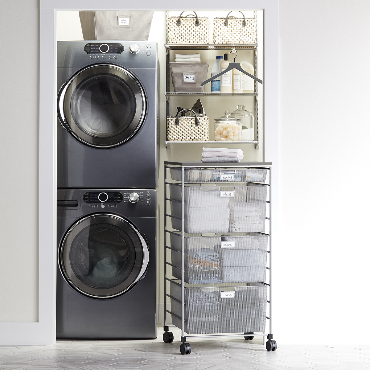 Elfa Classic 2' Platinum & Grey Shelving & Drawer Unit