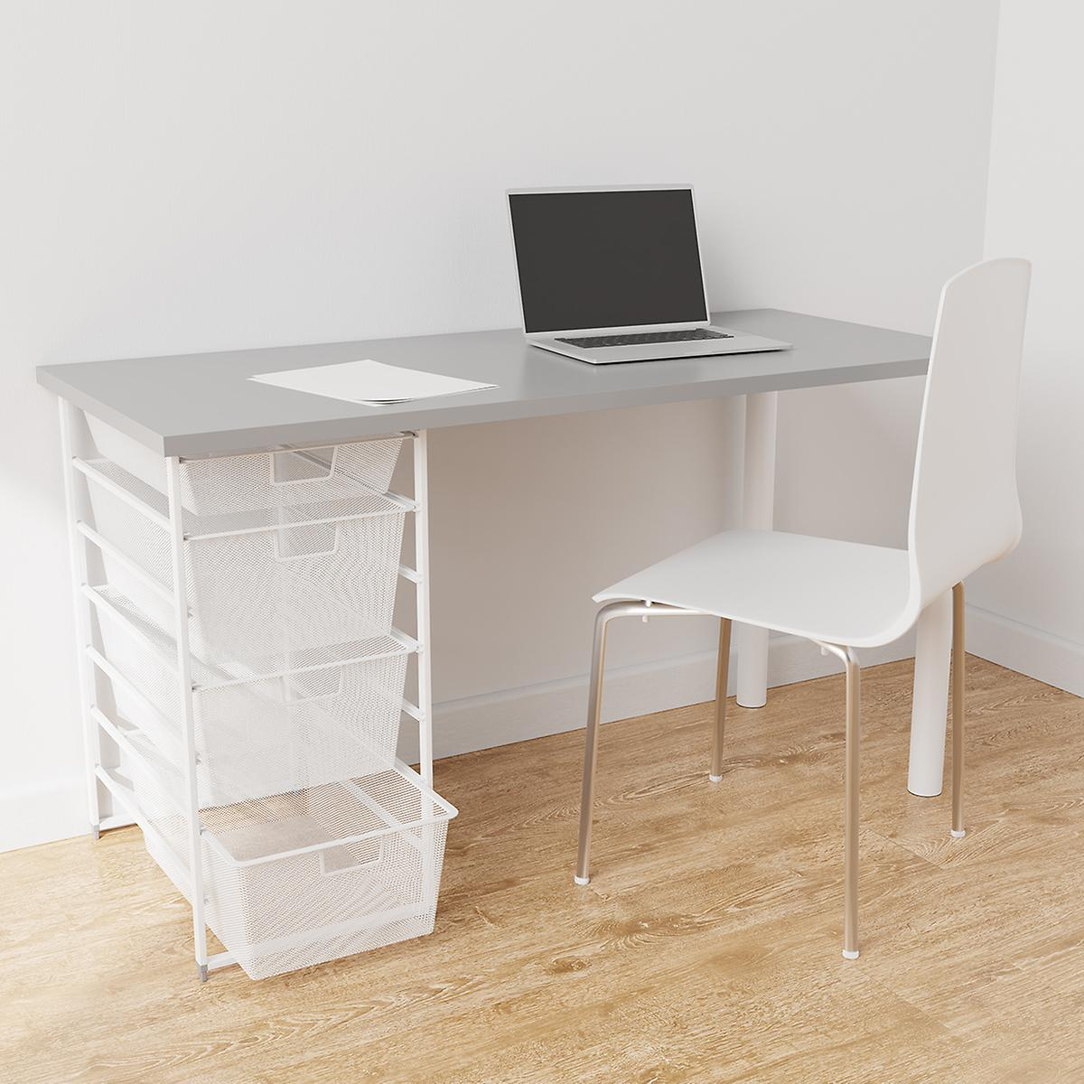 Elfa White & Grey Desk with Drawers