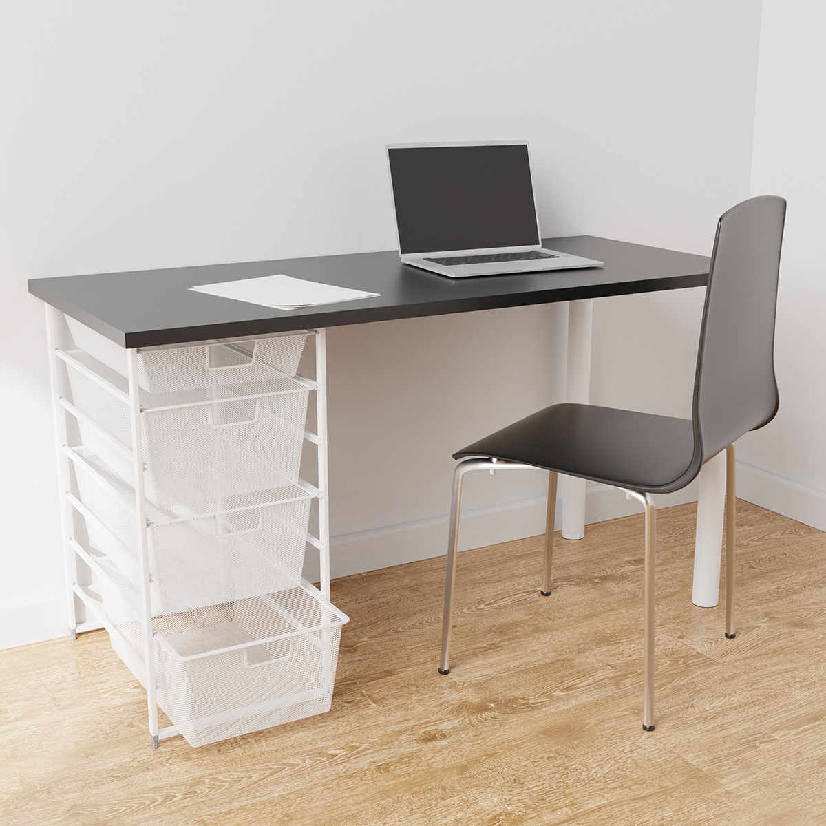 Elfa White & Slate Desk with Drawers