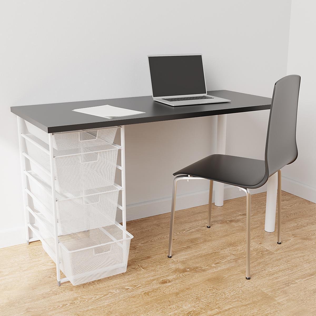 Elfa White & Slate Desk with Drawers