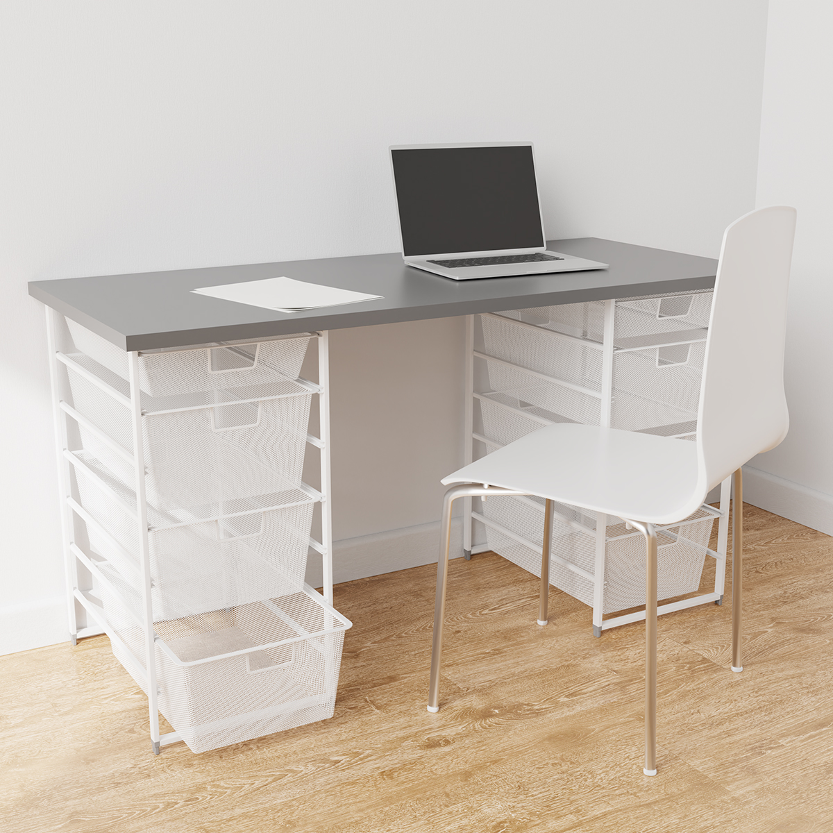 Elfa White & Grey Desk with Double Drawers