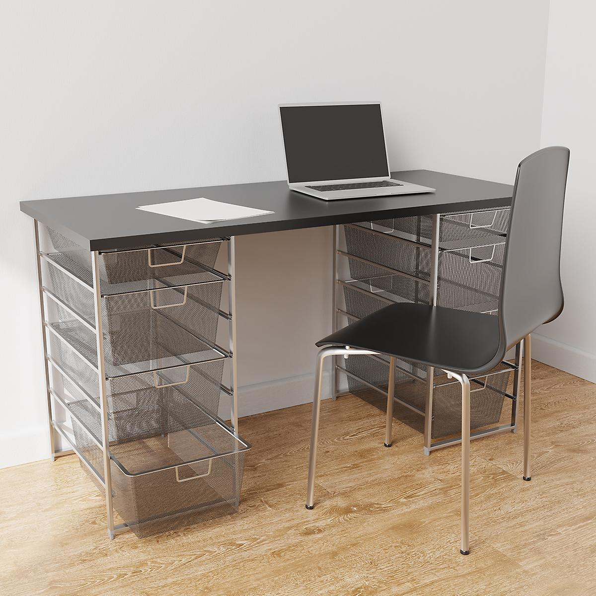 Elfa Platinum & Slate Desk with Double Drawers