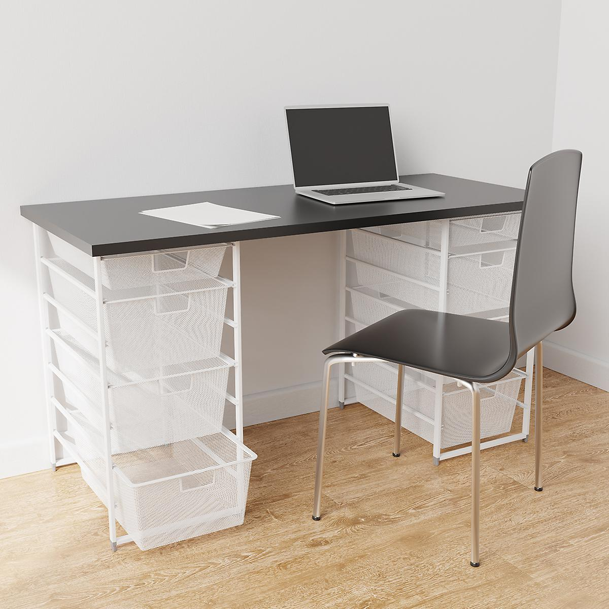 Elfa Slate & White Desk with Double Drawers