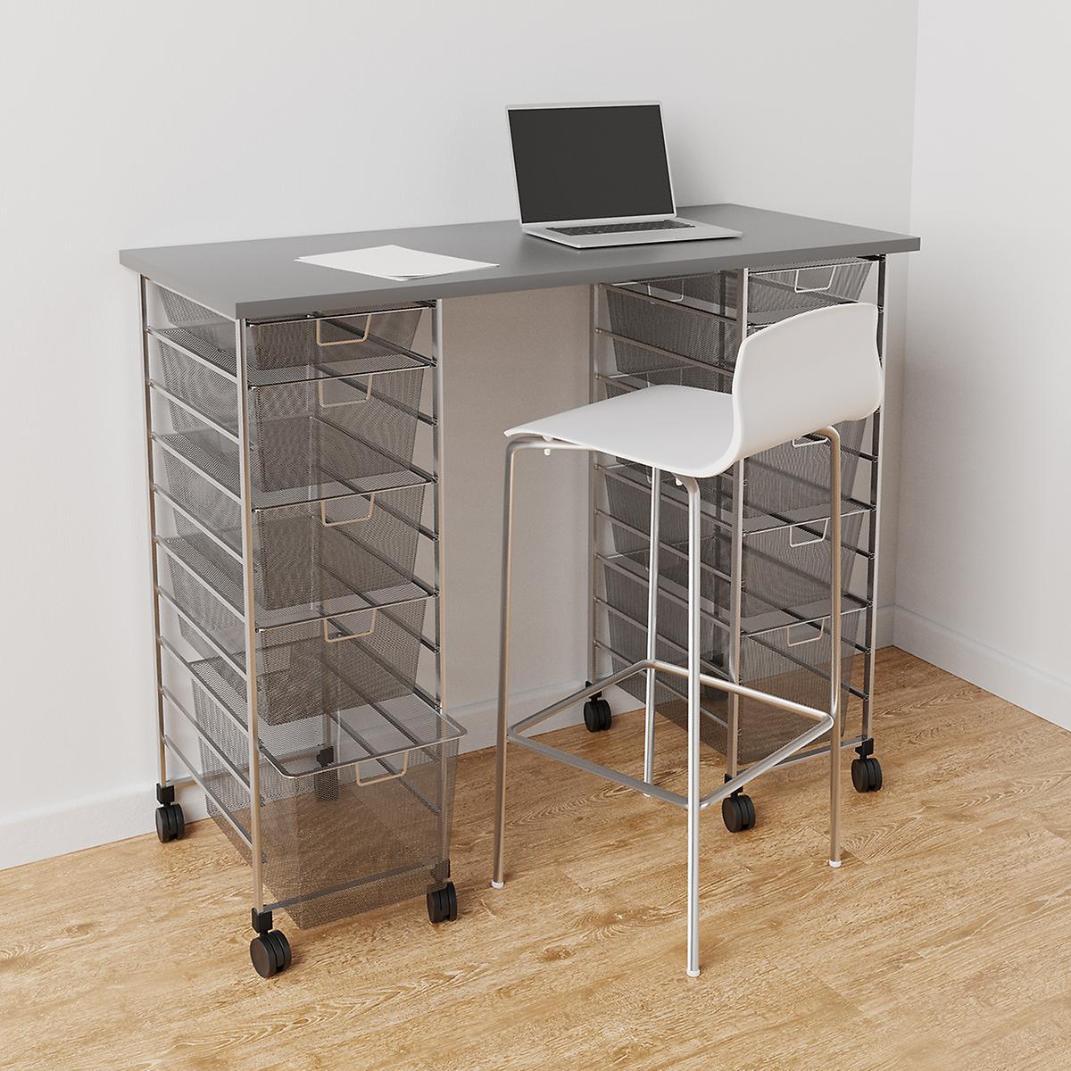 Elfa Platinum & Grey Movable Standing Desk