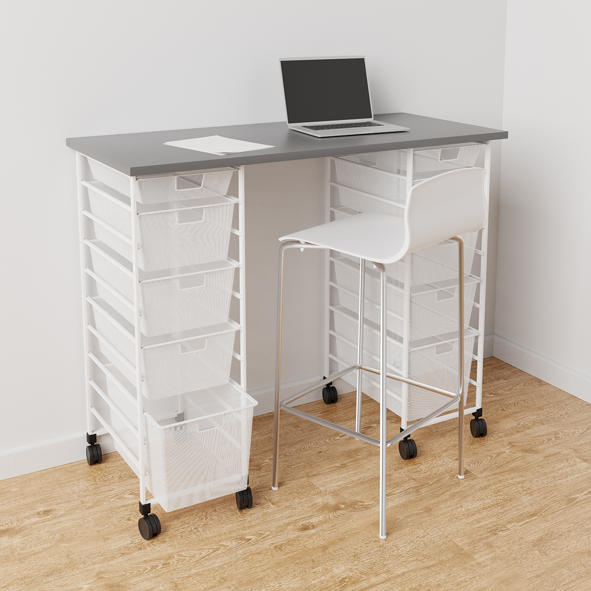 Elfa Grey & White Movable Standing Desk