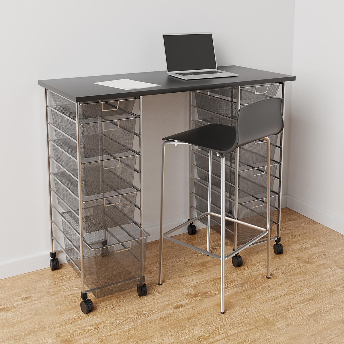 Elfa Platinum & Slate Movable Standing Desk