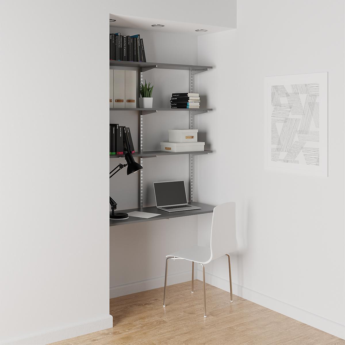 Grey & Platinum Elfa Wall-Mounted Desk