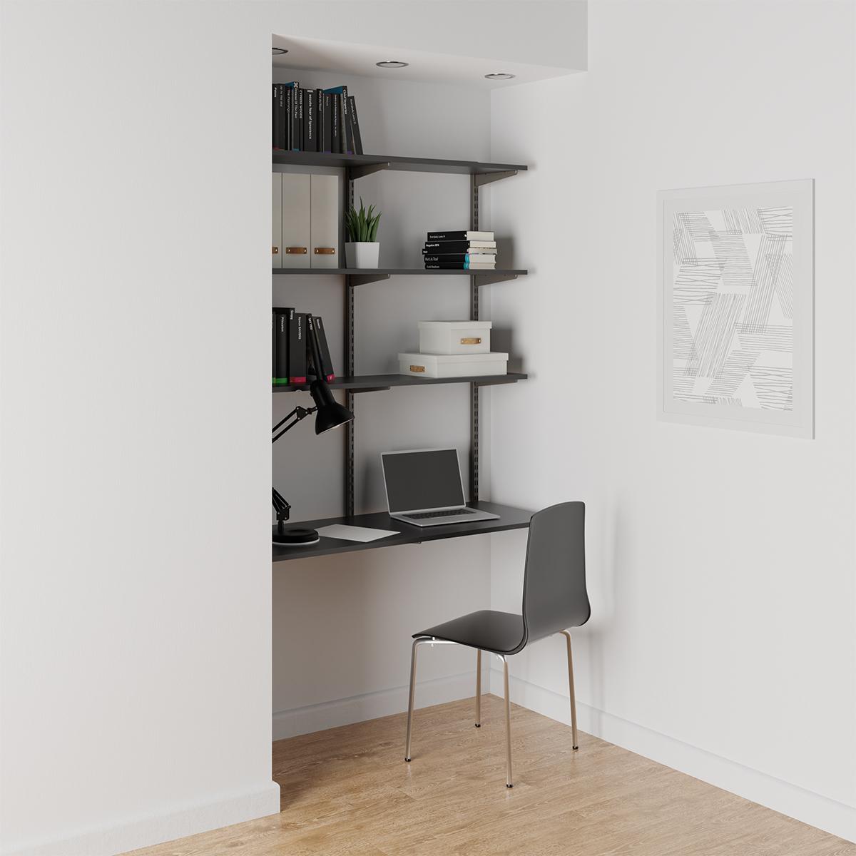 Slate & Graphite Elfa Wall-Mounted Desk