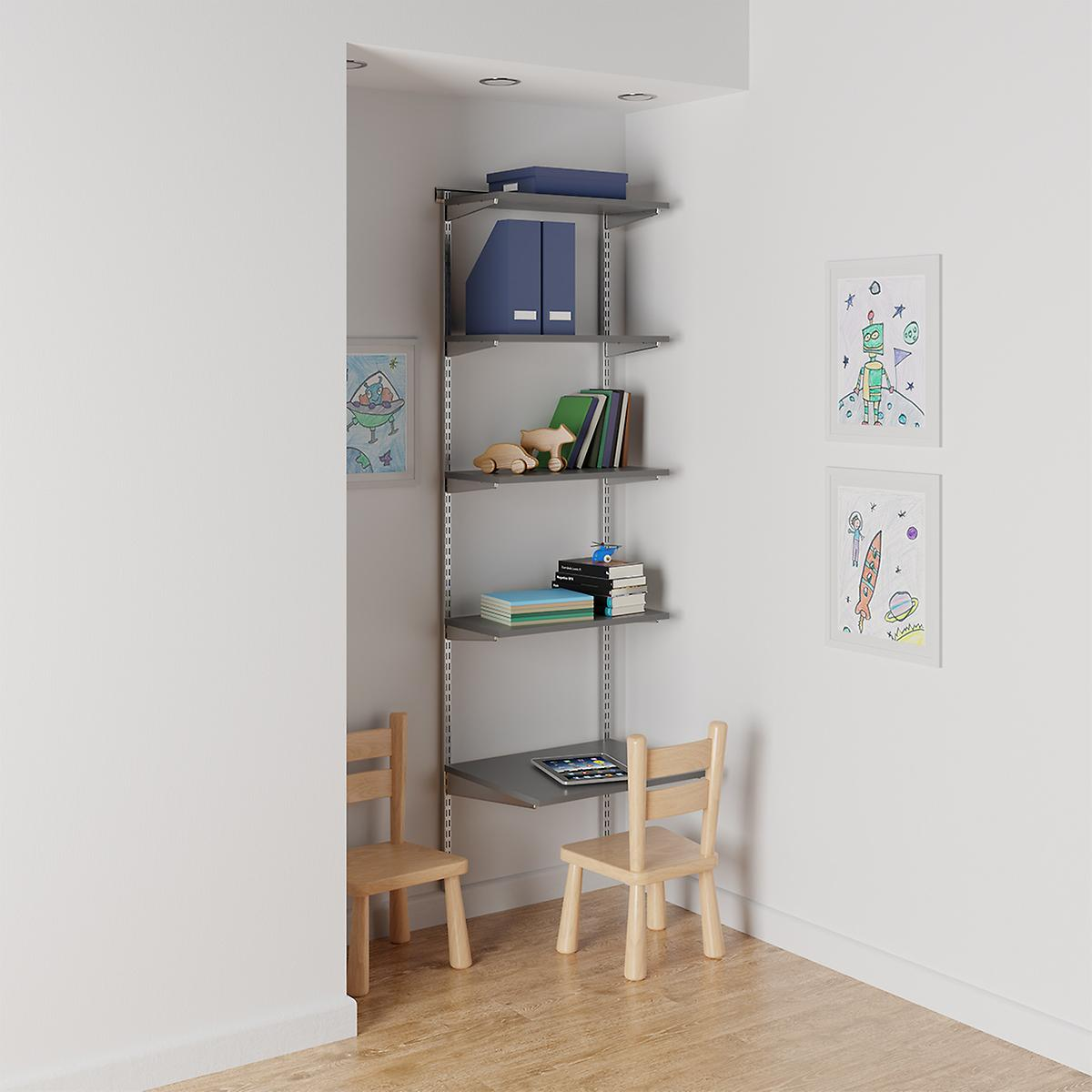 Elfa Grey & Platinum Kids' Study Nook
