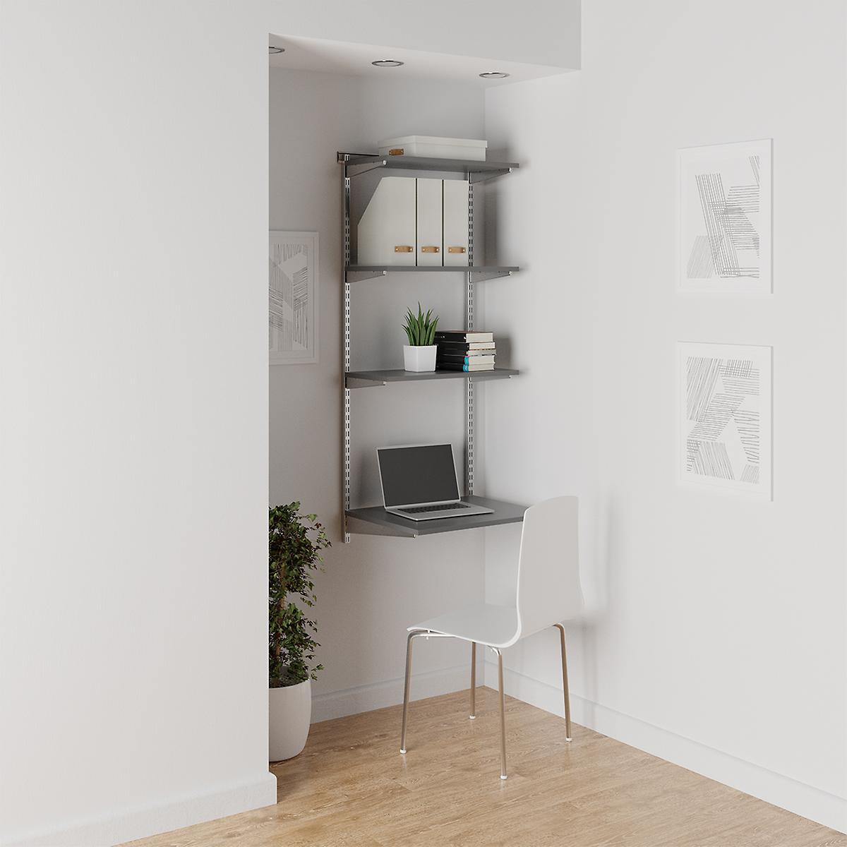 Elfa Grey & Platinum Shelving Office Nook