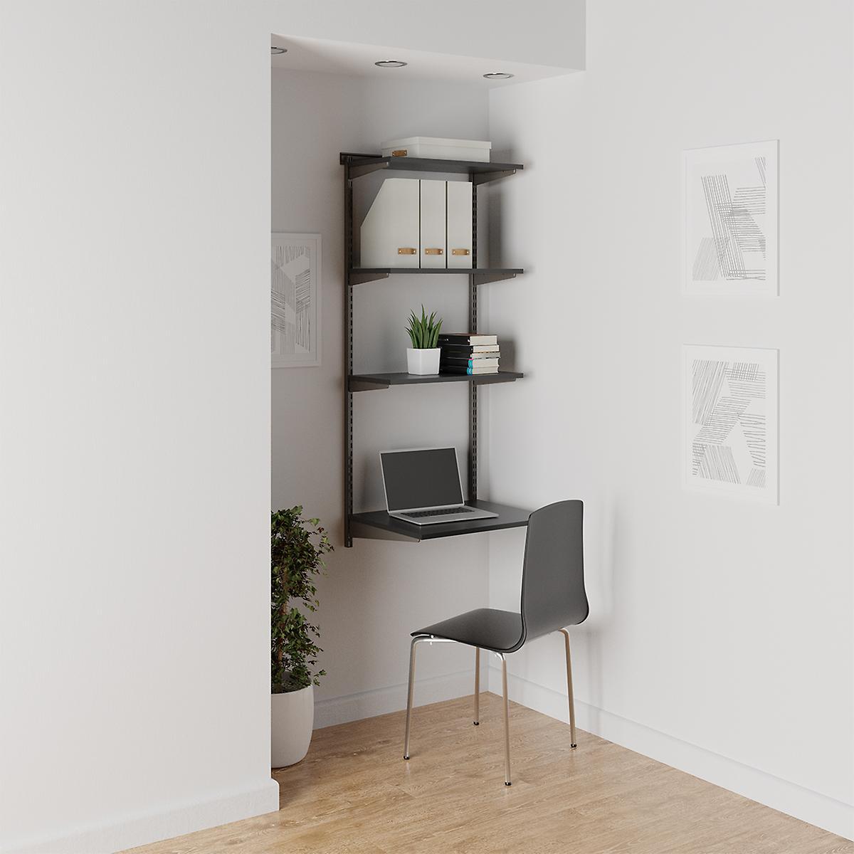 Elfa Slate & Graphite Shelving Office Nook