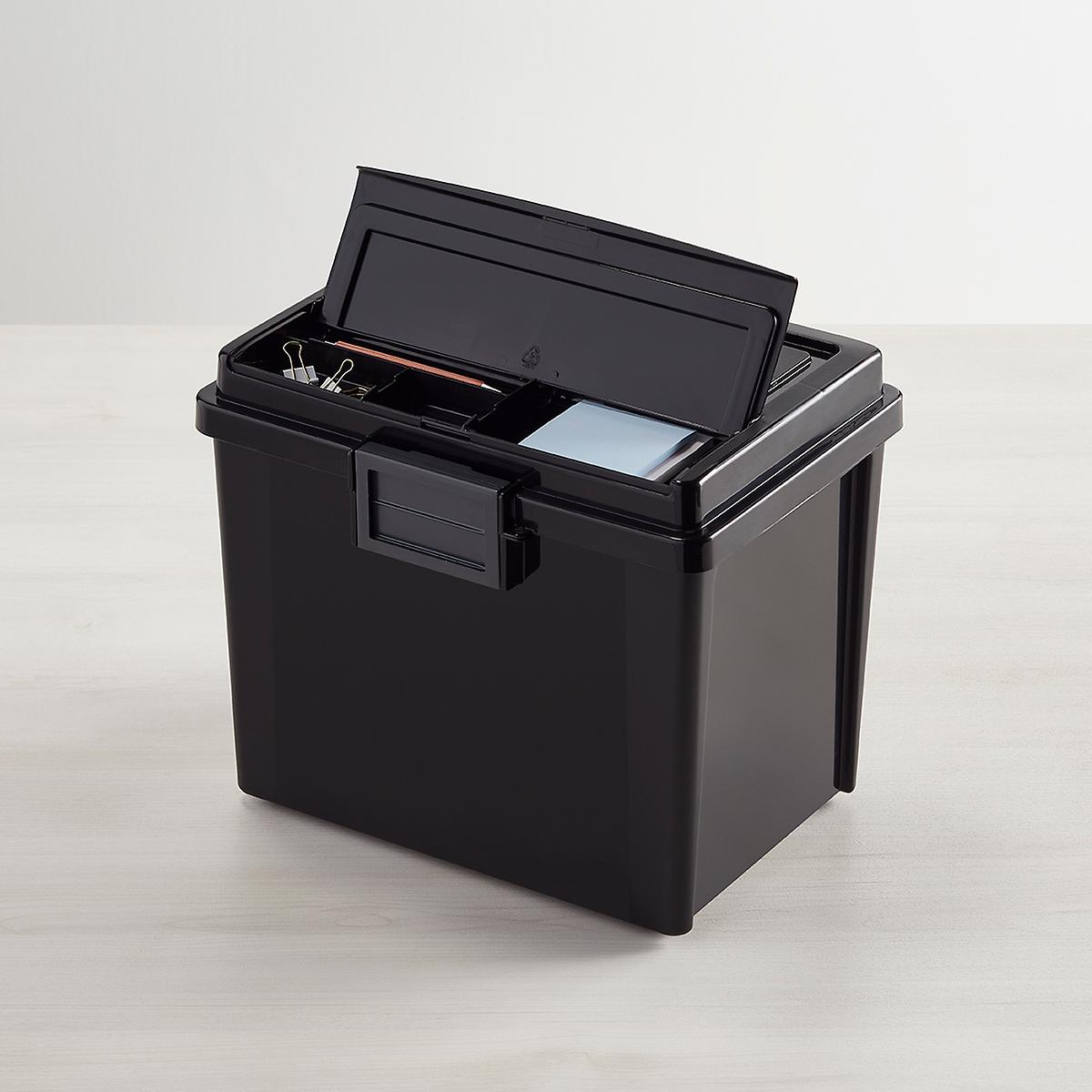 Iris Black Weathertight Portable File Box with Handle