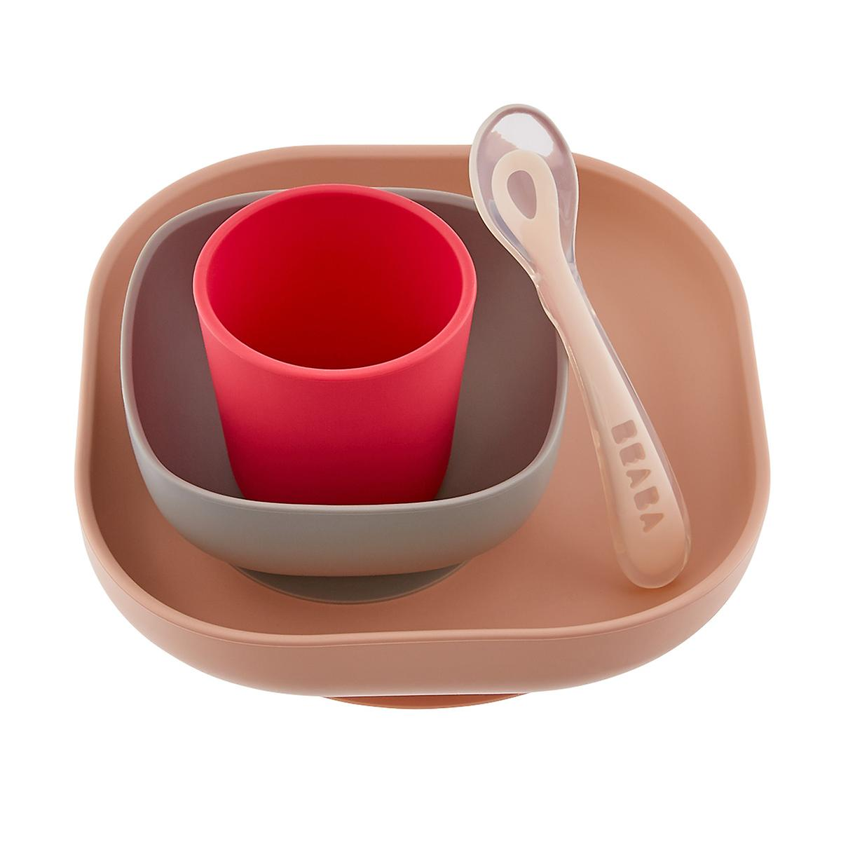 Beaba Infant Silicone Pink 4-Piece Meal Set
