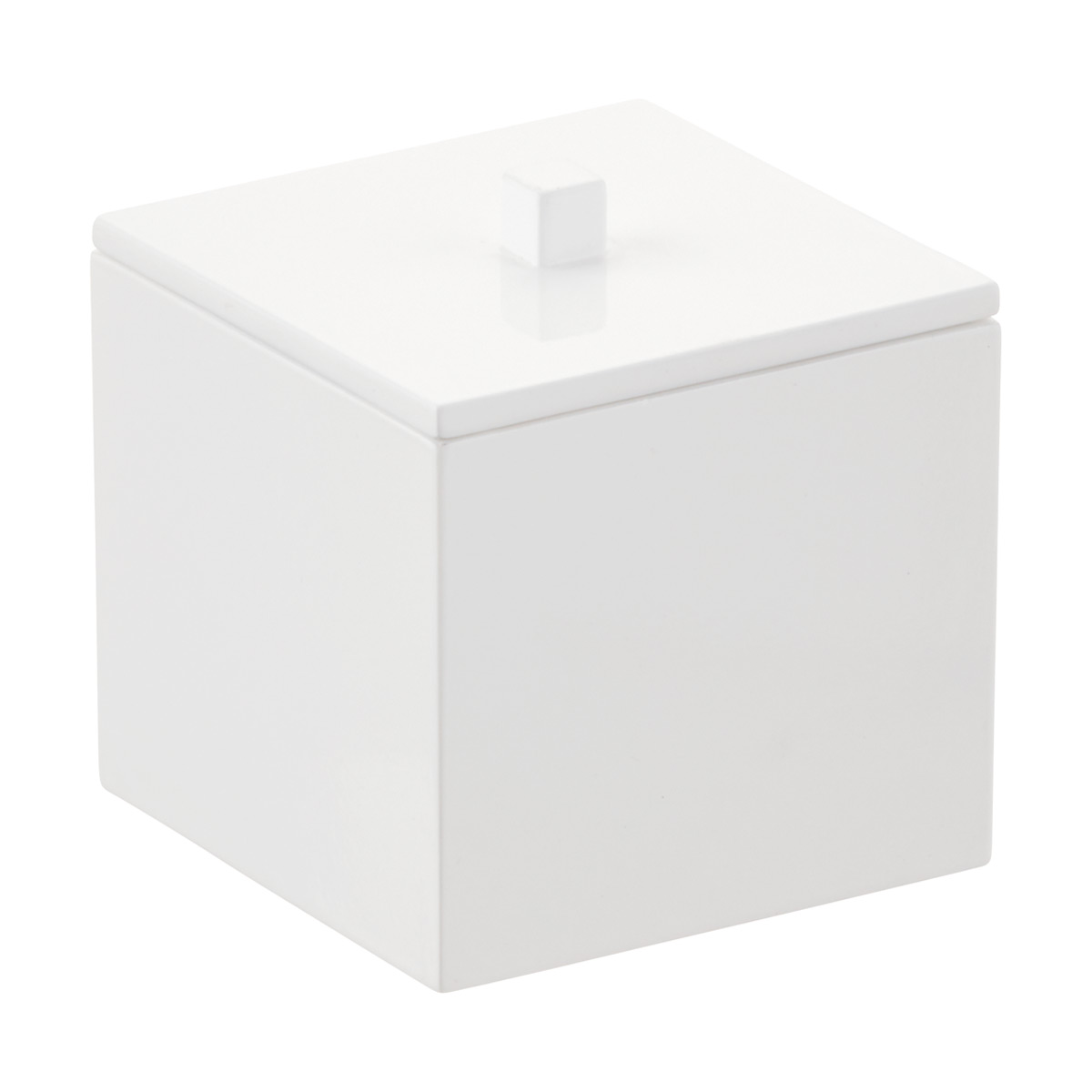 Medium White Square Lacquered Canister