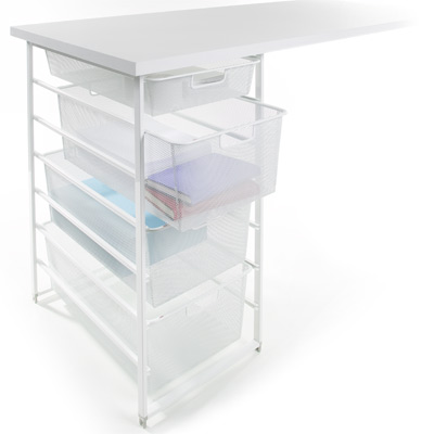 White Elfa Mesh Desk Drawers The Container Store