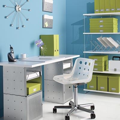 Galvanized QBO Steel Cube Desk with White Top