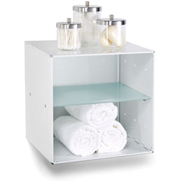 White Enameled QBO Divided Steel Wall Cube