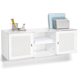 White Enameled QBO Steel Wall Cube Credenza