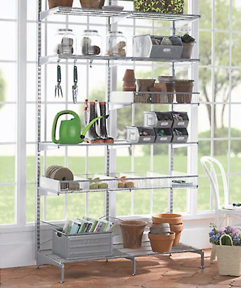 Platinum Elfa Freestanding Sunroom Shelving The