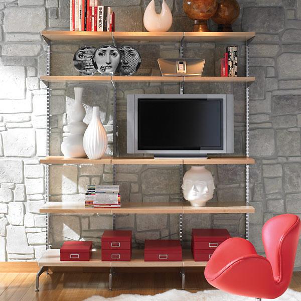 Birch platinum elfa d cor freestanding entertainment for Elfa desk system
