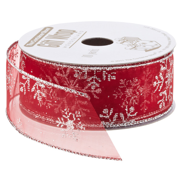 Ribbon Wired Sheer Snowflake