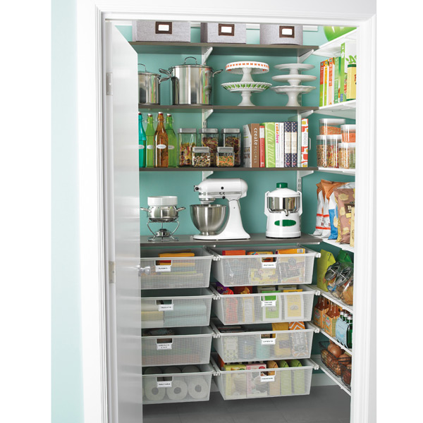 Beautiful and well organized walk-in pantry built with Elfa organizing system by The Container Store.
