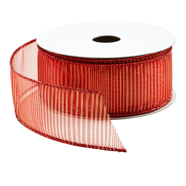 Ribbon Wired Red w/Gold Stripe