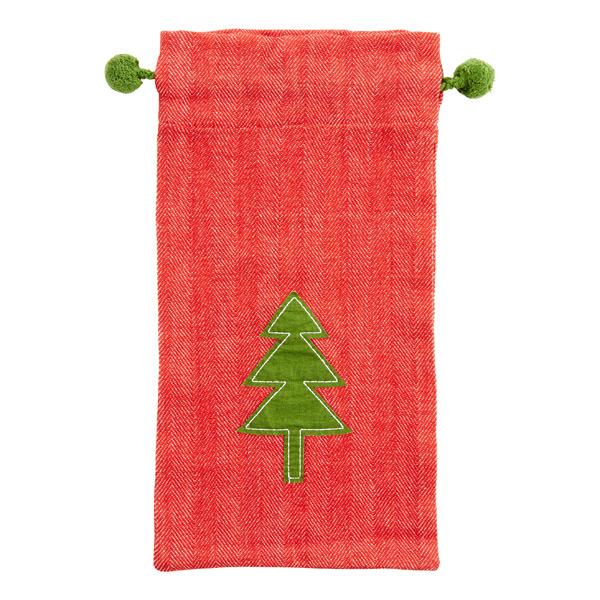 Cotton Sack Red w/Green Tree
