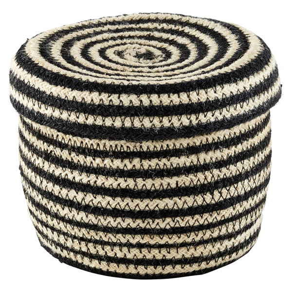 Striped Jute Basket with Lid