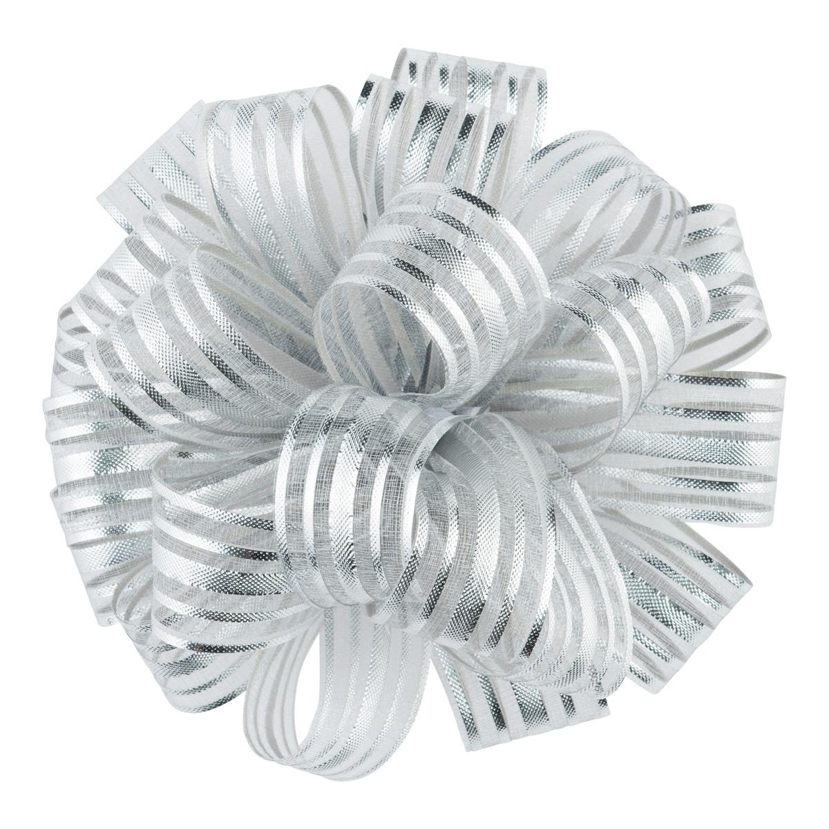 Sheer Metallic Stripes Bow