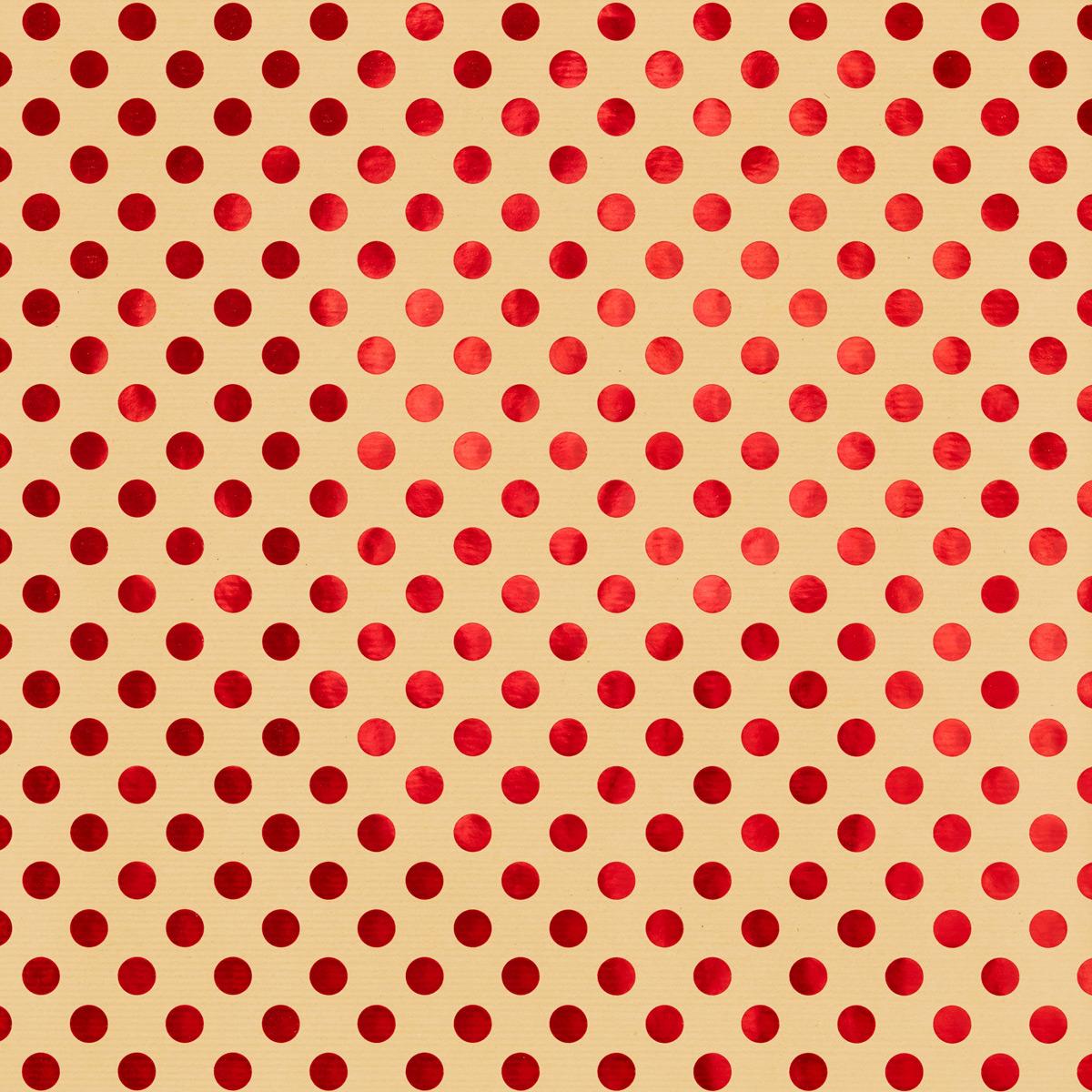 Wrap Foil Dots Red on Kraft