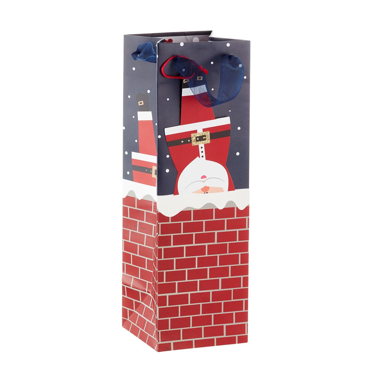 Bottle Tote Santa in Chimney