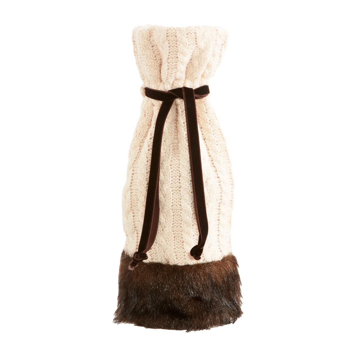 Bottle Sack Knit w/Faux Fur