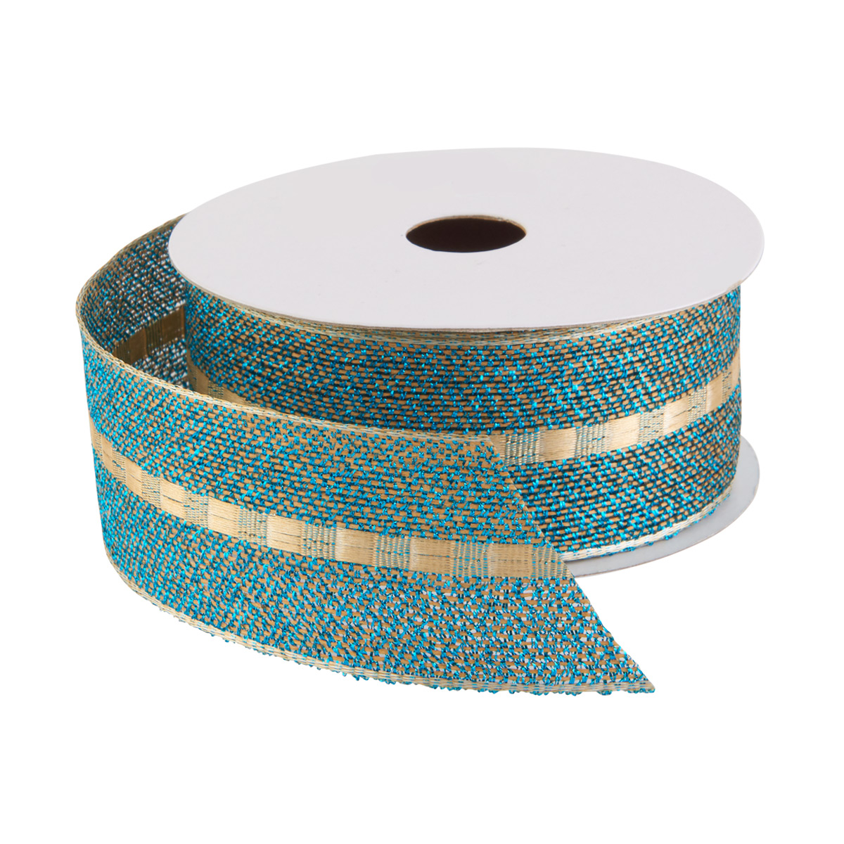 Ribbon Wired Teal w/Gold